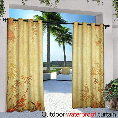 familytaste Bamboo Exterior/Outside Curtains Bamboo Stems and Blooming Flower Antique Grunge Background Oriental Artwork for Patio Light Block Heat Out Water Proof Drape W96 x L108 Mustard Vermillion