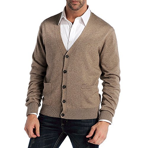 CHAUDER Men's Relax Fit V-Neck Cardigan Cashmere Wool Blend Button Down with Pockets (L, Coffee) by CHAUDER