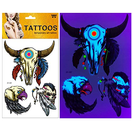 Neon-Party Accessories UV Sensitive Blacklight-Temporary-Tattoos Glitter Long -