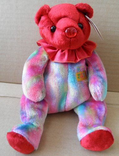 Ty Beanie Baby July Ruby Birthstone Teddy Happy Birthday Bear