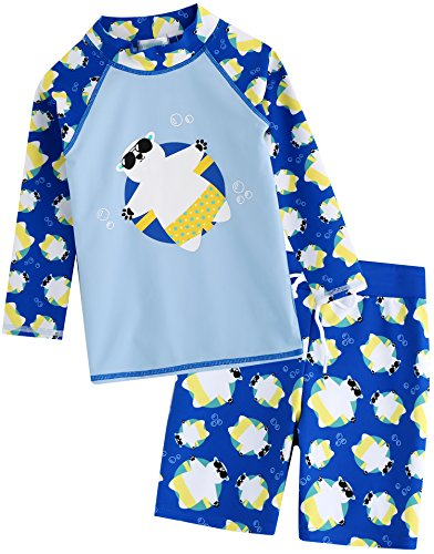Long Short Set (Vaenait Baby Kids Boys Rashguard Swimsuit Long Shirt and Shorts Set Tanning Bear Blue S)