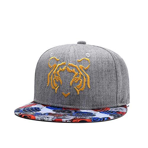 Tiger Embroidered Snapback Hat 3D Rose Floral Print Visor Caps Twill Flat Bill Adjustable Baseball Cap Grey