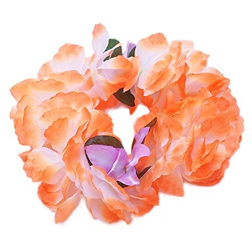 Premium Hawaiian Crown Lei- Paradise Petunia w/ Orchids in Tangerine Orange