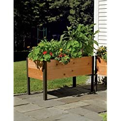 "Gardener's Supply Co. 2 Ft x 4 Ft Raised Garden Bed Elevated Cedar Planter Box (24"" x 48"") Standing Garden"