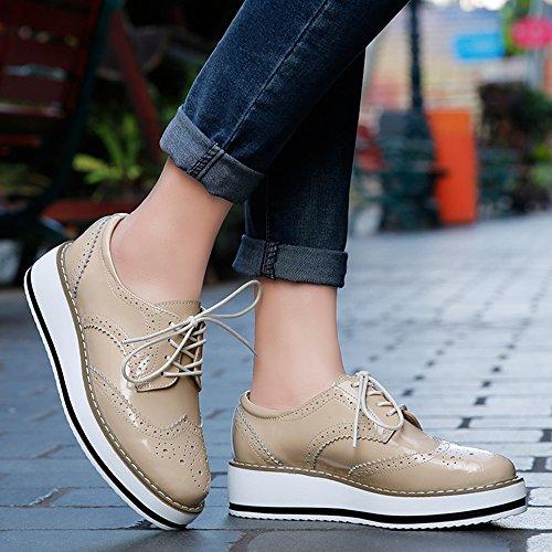 para de zapatos tamaño más 5 un CM tenía un Brogue Cordones Plataforma elegir 4 para Blanco grande ser NOTA pueden Mujer los poco mejor Albaricoque Negro Vestir Zapatos Talón estrechos SdqxSa