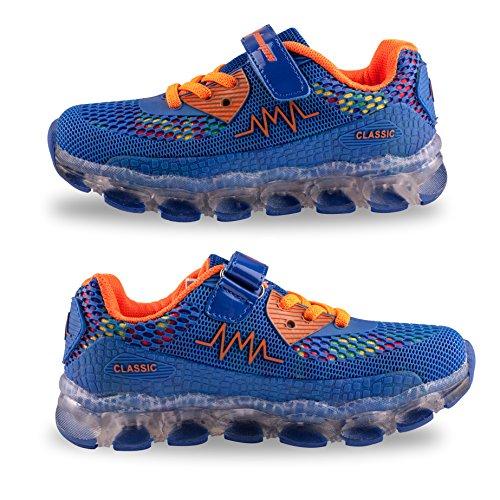 LED Zapatos,Shinmax Primavera-Verano-Otoño Transpirable Zapatillas LED 7 Colores Recargables Luz Zapatos de Deporte de Zapatillas con Luces Para Niños Niñas con CE Certificado Azul Oscuro-