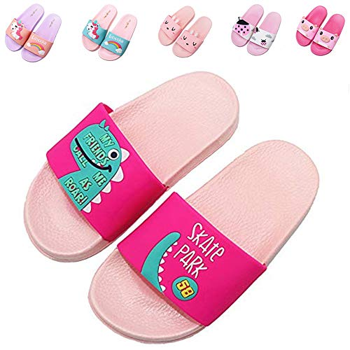 Elcssuy Kids Summer Slide Sandals Non-Slip Beach Water Shoes Pool Bath Slippers Sport Slides for Boys Girls(Toddler/Little Kid) Pink dinosaur34