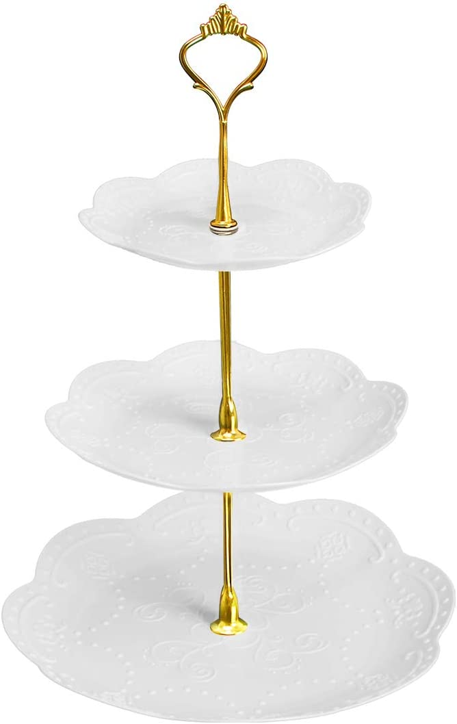 Coitak 3 Tier Cupcake Stand, Plastic Tiered Serving Stand, Dessert Tower Tray for Tea Party, Baby Shower and Wedding
