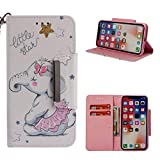 Leather Wallet Case for iPhone X,Shinyzone Cute Cartoon Animal Elephant Painted Pattern Flip Stand Case,Wristlet & Metal Magnetic Closure Protective Cover