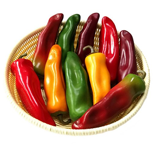 Gresorth 10pcs Artificial Lifelike Simulation Chili Fake Pepper Vegetable (Yellow, Red, Wine Red, Green, Dark Red) Each Color 2PCS by Gresorth (Image #2)