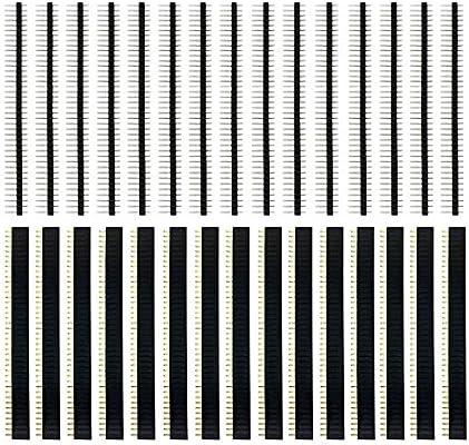 IZOKEE 30 Piezas 2.54mm 40 Pines Conector de Cabeza Pin Header PCB Soldadura Fila Unica