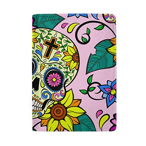 Passport Holder Sugar Skulls And Flowers On Dark Dirtyproof Fashionable Passport Cover Case Holiday Travel Wallet Card Holder For Men Women Couple Teens