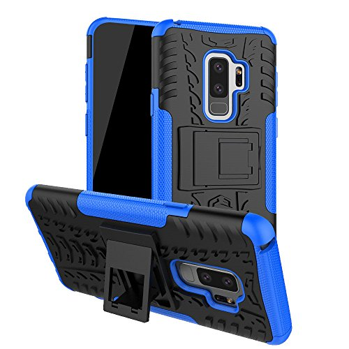 (Galaxy S9 Plus Case, S9 Plus Case, Moment Dextrad [Built-in Kickstand][Non-slip Design] Dual Layer Hybrid Full-body Rugged [Shock Proof] Protection Cover for Samsung Galaxy S9 Plus + Stylus (Blue))