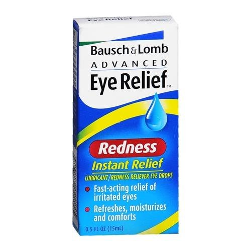 Bausch & Lomb Advanced Eye Relief Instant Relief Lubricant/Redness Reliever Eye Drops, .5 oz - Buy Packs and SAVE (Pack of 6)