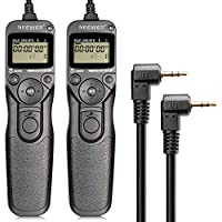 Neewer® 2 Pack LCD Timer Shutter Release Remote Control Cord RS-60E3 for Canon Pentax DSLR Camera,fits Canon EOS 60D 300D 350D 400D 450D 1000D 500D 550D 650D 700D 100D/Rebel XT Xti Xsi XS T1i T2i