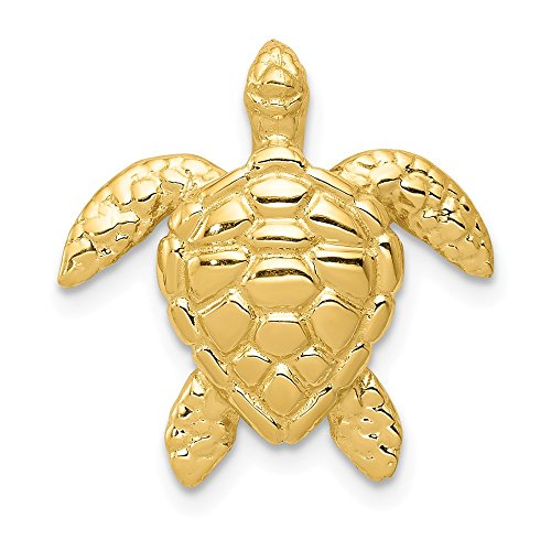 (14k Yellow Gold Large Sea Turtle Necklace Chain Slide Pendant Charm Life Fine Jewelry Gifts For Women For Her)