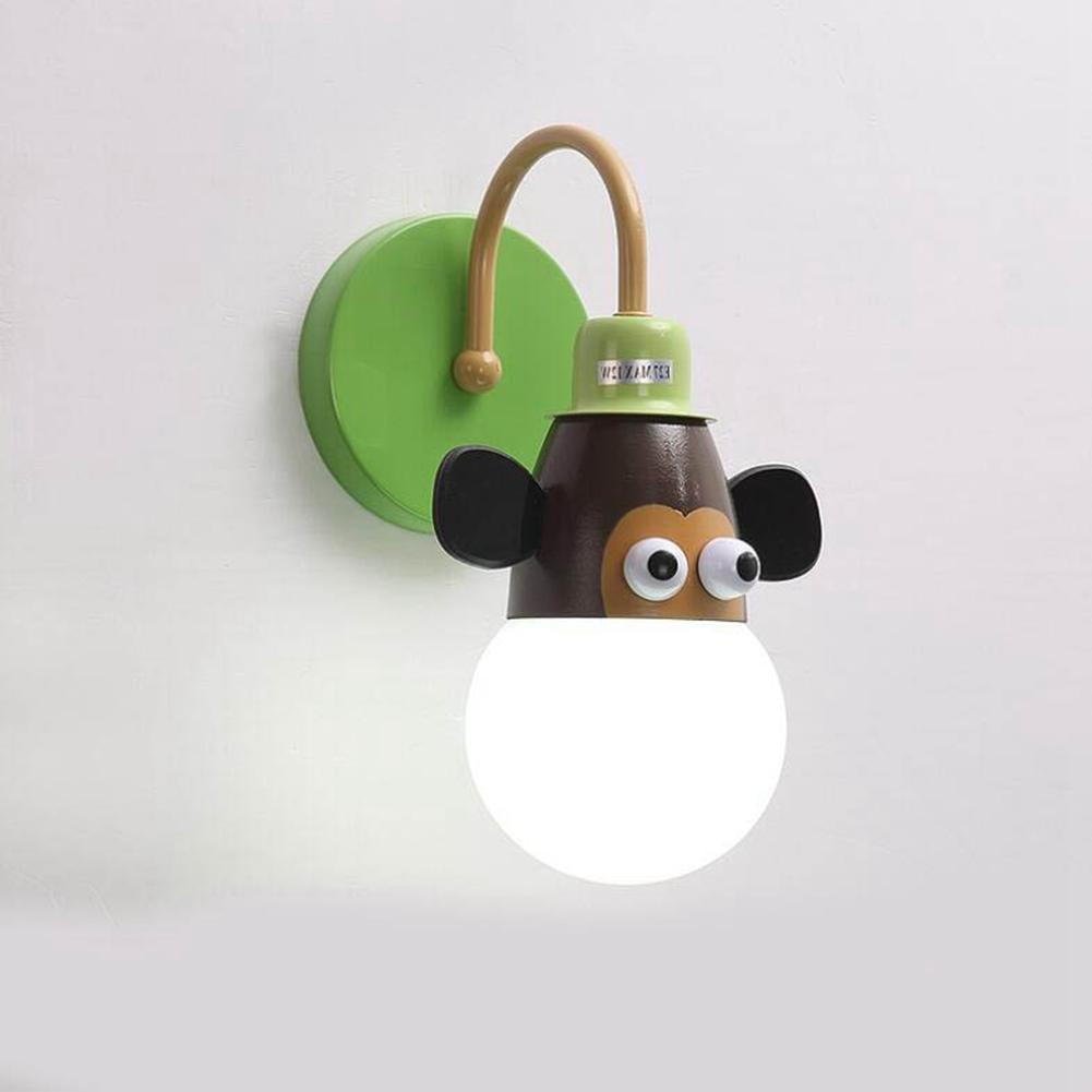 JIN Children Sconce Bedroom Bedside Lamp Creative Cartoon Children Room Lights Boy Girl Room Lights Animal Princess Lights , No Light Source , B