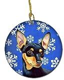 Caroline's Treasures LH9290-CO1 Min Pin Winter Snowflake Holiday Ceramic Ornament, Multicolor