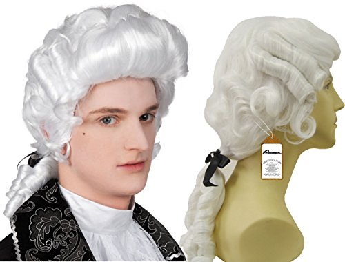 Baroque Wig (Anogol® Free Hair Cap+Baroque Long Curly White Men Wig Men's Colonial Wig George Washington Wig Historical Costume Wig Halloween Cosplay Wig D0227)