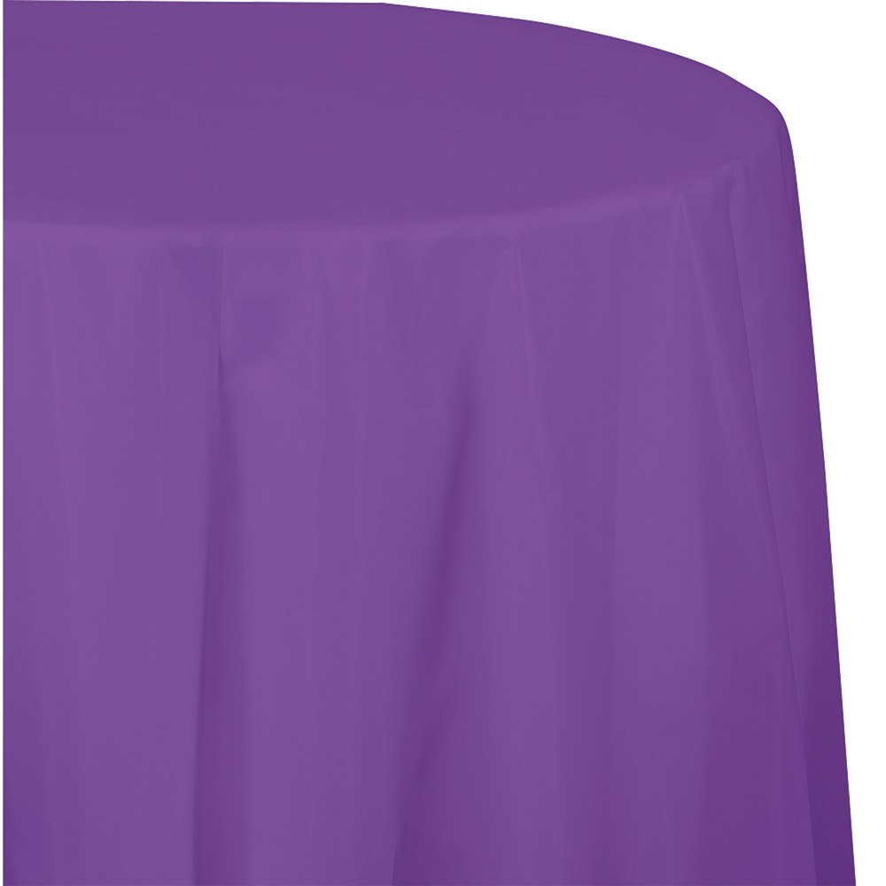 Creative Converting 318932 Touch of Color 12-Count Octy-Round Plastic Table Covers, 82-Inch, Amethyst,