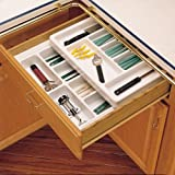 Rev-A-Shelf RT 18-3F Rolling Tray Series Shallow Cutlery Tray with Rolling Top F, Glossy White