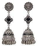 Sansar India Stud Oxidized Long Jhumka Jhumki Indian Earrings Jewelry for Girls and Women