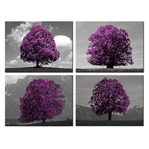 (Kreative Arts Black White and Purple Tree Canvas Print Wall Art Landscape Picture Stretched and Framed Artwork for Home Decor Ready to Hang 12x16inchx4pcs)
