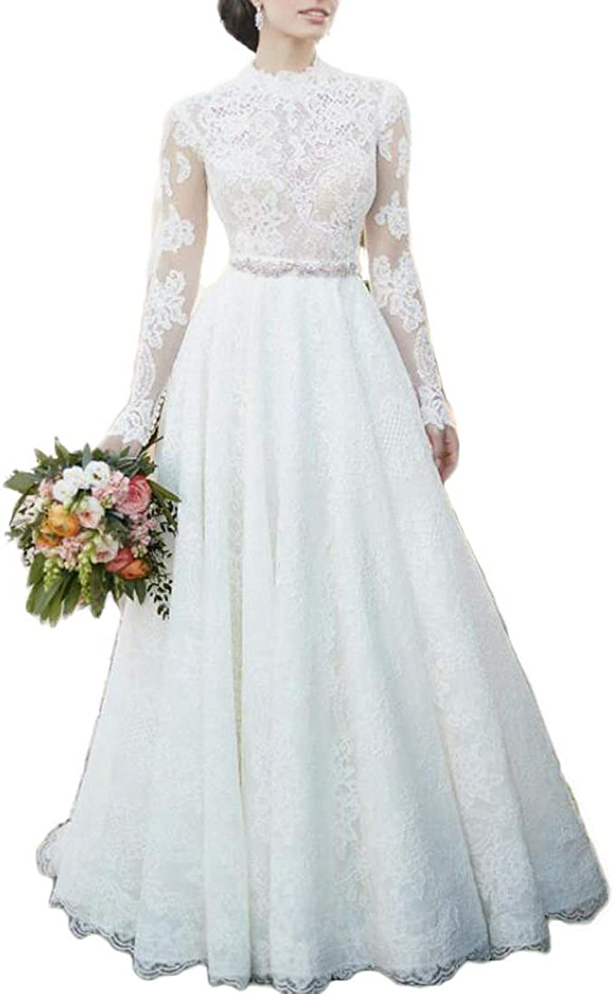 Amazon Com Women S Lace High Neck Wedding Dresses For Bride 2020 A Line Long Sleeves Garden Bridal Gown Clothing