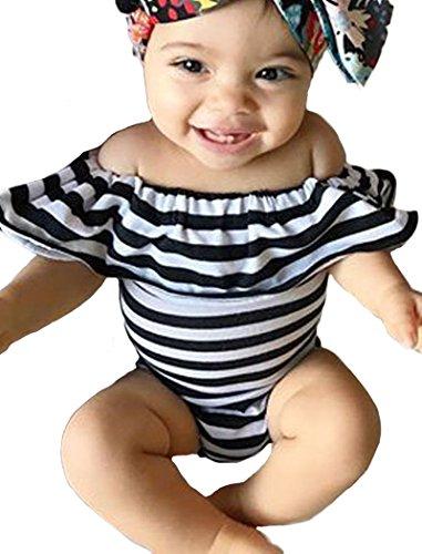 2 Piece Sunsuit Set (Baby Girl Clothes Newborn Stripe Printed Off Shoulder Bodysuit Romper Jumpsuit Sunsuit One-pieces Outfits Set)