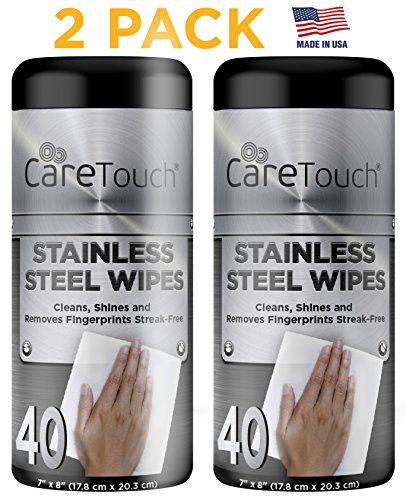 Care Touch Stainless Steel Wipes, Streak Free Wipes for One-Step Cleaning, Shining, and Protecting, 2 Pack, 40 Wipes Each (Stainless Cleaning Steel Wipes)