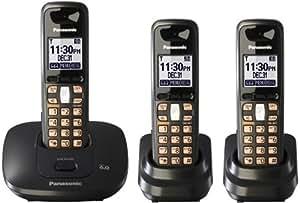 Panasonic KX-TG6413T Dect 6.0 Digital Cordless Phone with 3 Handsets (Titanium Black)