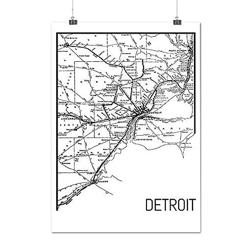 City Map Street Detroit Art Work Matte/Glossy Poster A2 (17x24 inches) | Wellcoda (Reykjavik City Map)