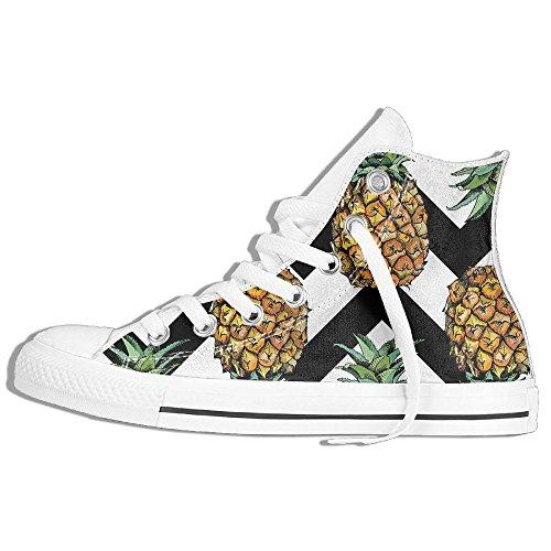 Classiche Sneakers Alte Scarpe Di Tela Anti-skid Onde Ananas Casual Da Passeggio Per Uomo Donna Bianco