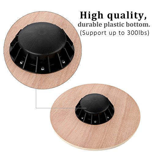 Physport Non slip Wobble Wooden Balance Board For Exercise Fitness Trainer and Physical Therapy Rehab 360 Rotation
