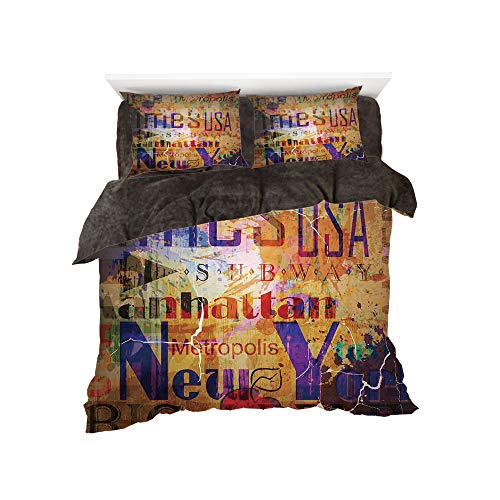 Cover Montage Futon - Flannel 4 Piece Cotton Queen Size Bed Sheet Set for bed width 5ft Winter Holiday Pattern by,NYC Decor,Grunge Style Complex Artsy Montage of NYC Letters on Magazine Cover Popular Brooklyn Borough Life,