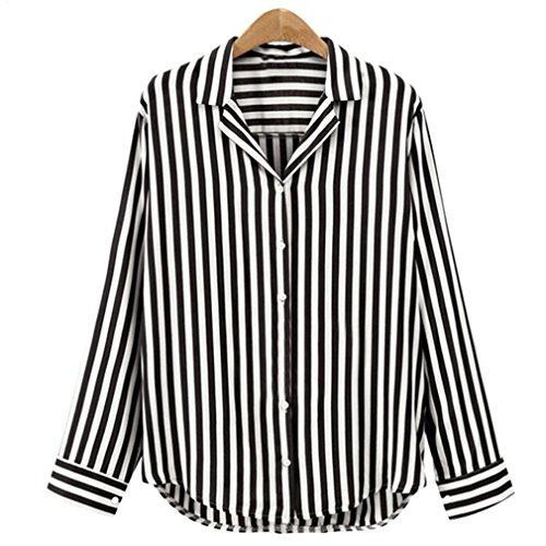 Bureau Automne Noir Chemisier Haut T Ray Shirt Bouton ITISME Travail Longues Mesdames Femme Manches pqwxzA5O8