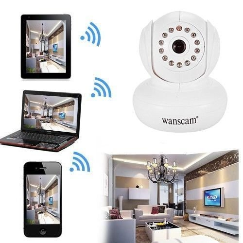 OUKU Wanscam - Wanscam - Wireless Mini Ip Camera with Pan Title and P2P Free (Color:White)