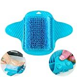 Foot Scrubber, Messar Bathroom Shower No Bending Feet Brush Foot Cleaning Slipper Massager Scrubber With Suction Cups (Blue)