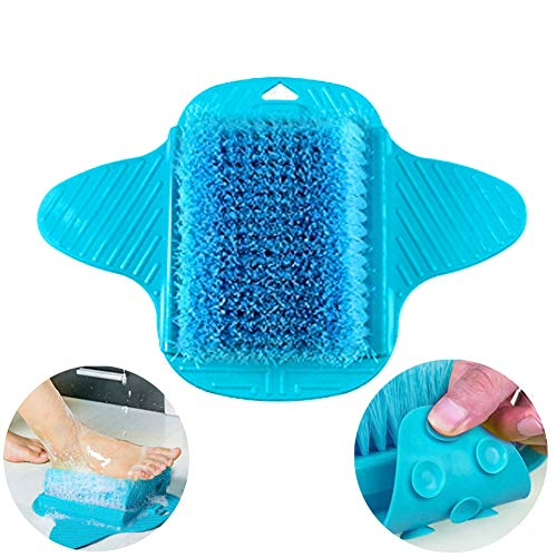 Foot Scrubber, Messar Bathroom Shower No Bending Feet Brush Foot Cleaning Slipper Massager Scrubber With Suction Cups (Blue) by Messar
