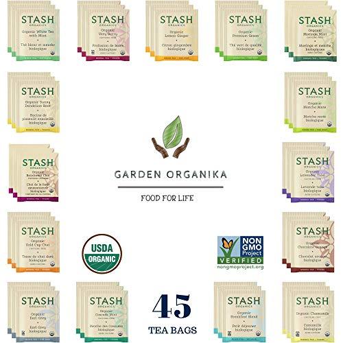 Stash Organic Tea Bags Sampler Gift Set - Black, White, Green & Herbal Tea Bags - 45 Count, 15 Flavors