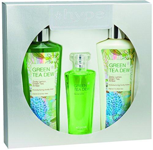 Cologne Green Tea Mist (Hype Head to Toe Gift Set of Body Lotion, Moisturizing Body Mist, Eau De toilette, Green Tea)