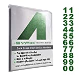 Dark Green Vinyl Numbers Stickers - 3 Inch Self Adhesive - 2 Sets - Premium Decal Die Cut and Pre-Spaced for Mailbox, Signs, Window, Door, Cars, Trucks, Home, Business, Address Number Indoor & Outdoor