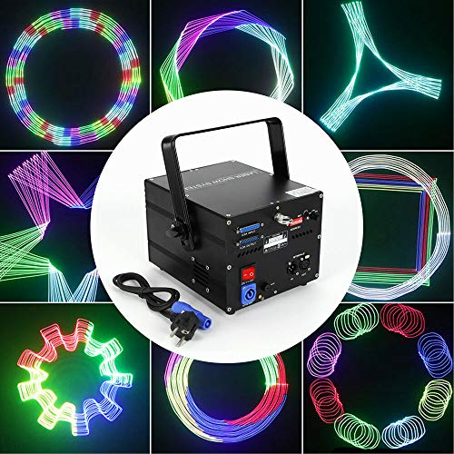 LFJD 500mW FULL-COLOR RGB Stage Light,ILDA DMX DJ Stage Light -12CH Animation Kit, Projector Beam Scan Show DJ Party Club Light Lamp