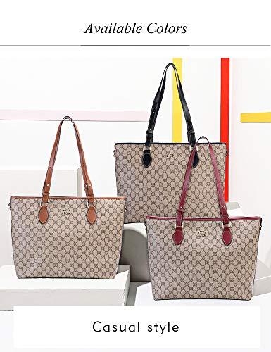 eb1bf594ad86 LeDuruo Womens Tote Bags For Work With Zipper Large Capacity Ladies  Handbags (Black)