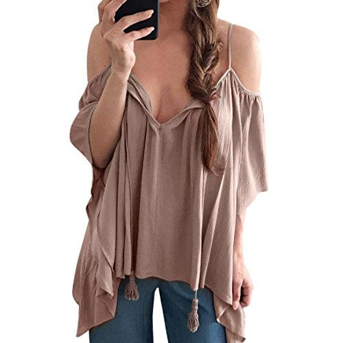 (Women Blouse Daoroka Ladies Sexy Deep V Off Shoulder Long Flared Ruffle Sleeve Strap Solid Shirts Casual Loose Tops (S, Brown))