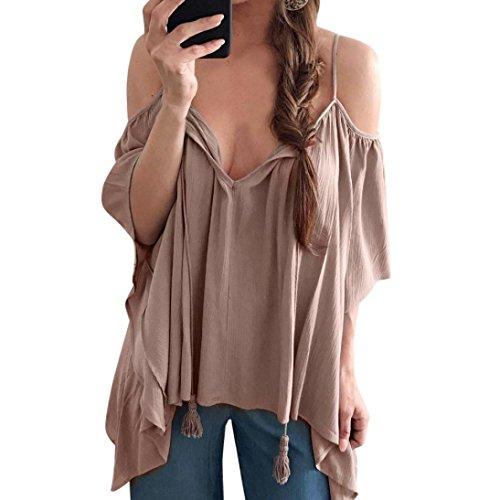 Women Blouse Daoroka Ladies Sexy Deep V Off Shoulder Long Flared Ruffle Sleeve Strap Solid Shirts Casual Loose Tops (XL, Brown) ()