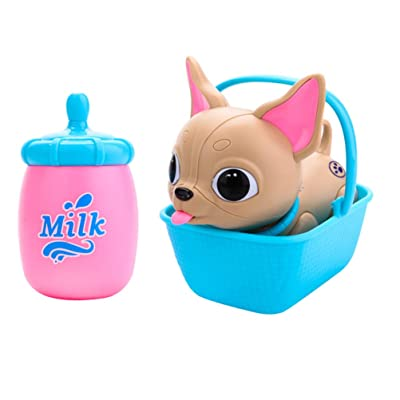 Toyvian Electronic Robot Dog Toy Little Cute Animal Pet with Feeding Function Milk Bottle Basket for Kids Toddlers Early Eaducational Toy: Toys & Games