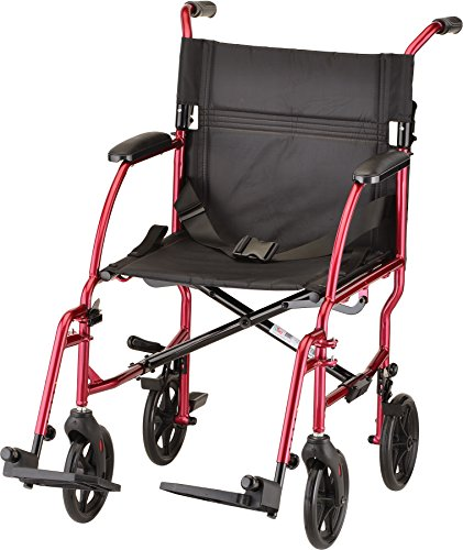 NOVA Ultra Lightweight Transport Chair, Weighs Only 18.75 lb, Compact for Travel, Red ()