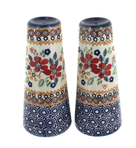 Polish Pottery Red Daisy Salt & Pepper Shakers (Pottery Shakers)