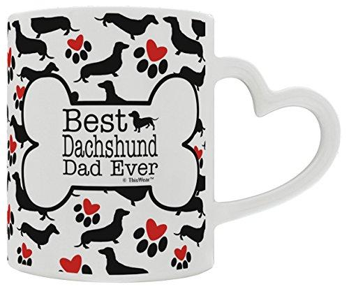 Dachshund Gifts Best Daschund Dad Ever Doxie Breed Weiner Dog Heart Handle Gift Coffee Mug Tea Cup Heart Handle